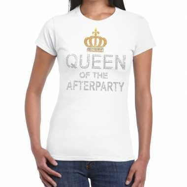 Wit queen of the afterparty glitter steentjes t-shirt dames