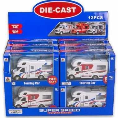 Wit/rode speelgoed auto camper voor kinderen 17 cm
