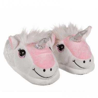 Wit/roze eenhoorn sloffen voor kinderen
