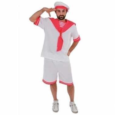 Wit/roze gay sailor kostuum voor heren