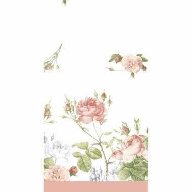 Wit/roze pioenroos bloemenprint tafelkleden/tafellakens 138 x 220 cm
