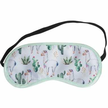 Wit slaap masker met lama/alpaca