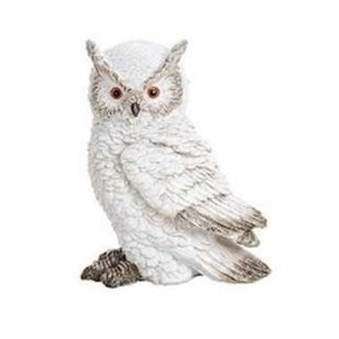 Wit sneeuwuil vogel dieren beeldje oehoe 13 cm