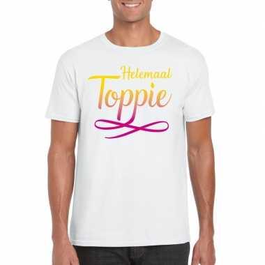 Wit t-shirt heren met tekst helemaal toppie