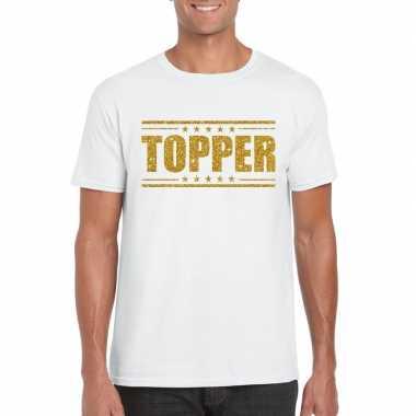 Wit topper shirt in gouden glitter letters heren