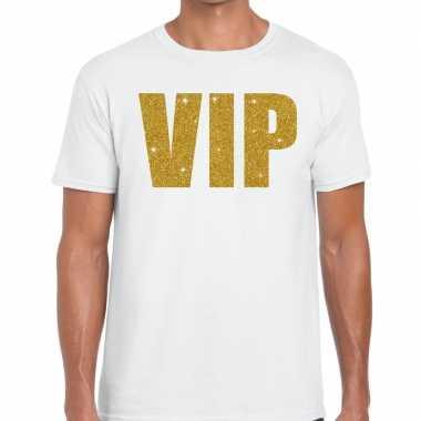 Wit vip goud fun t-shirt voor heren