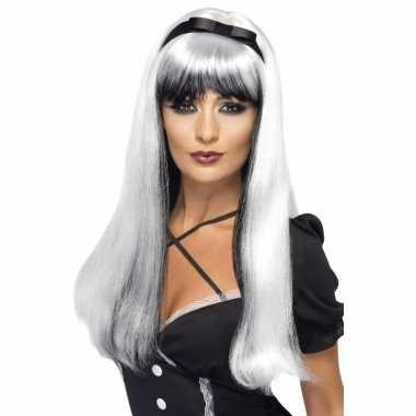 Wit/zwarte vampieren pruik voor dames