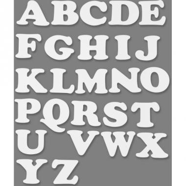 Witte alfabetletters van karton 3 sets