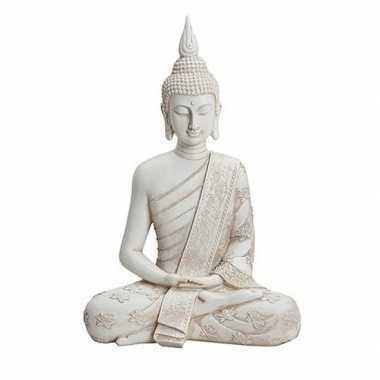Witte boeddha beeld zittend 40 cm