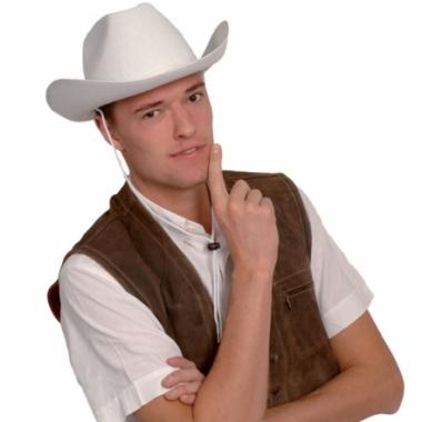 Witte cowboyhoed van vilt