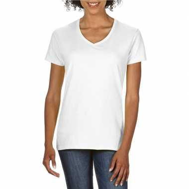 Witte dames casual t-shirts met v-hals