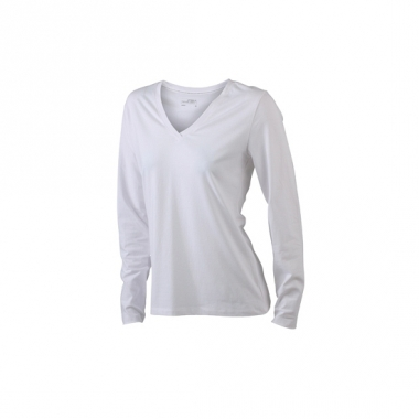 Witte dames stretch shirts lange mouw