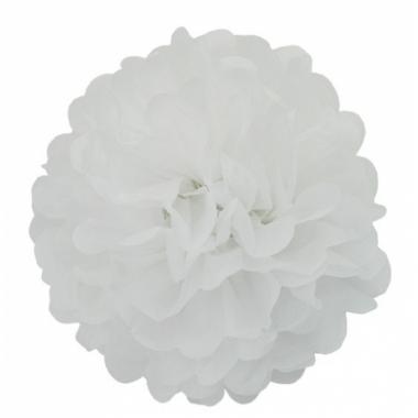 Witte decoratie pompoms 35 cm