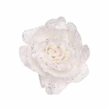Witte decoratie roos glitters op clip 10 cm