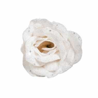 Witte decoratie roos glitters op clip 7 cm