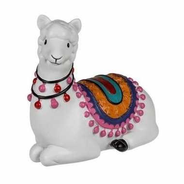 Witte dieren beeldje liggende alpaca 9 cm