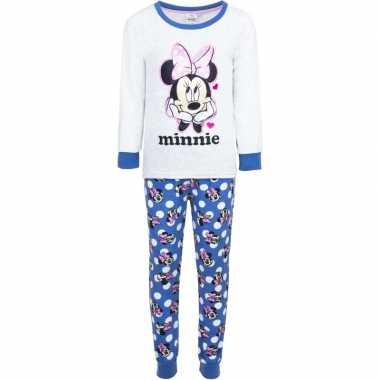 Witte disney pyjama minnie mouse met hartjes voor meisjes