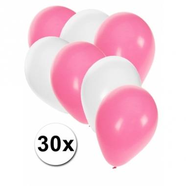 Witte en lichtroze ballonnen 30 stuks