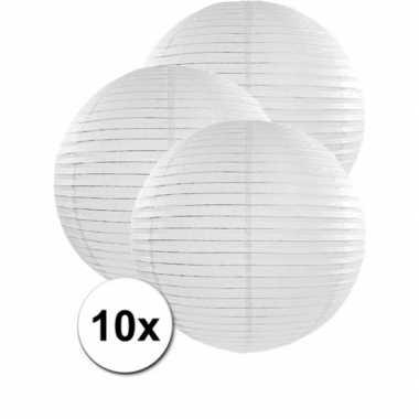 Witte feest versiering lampionnen 50 cm 10x stuks