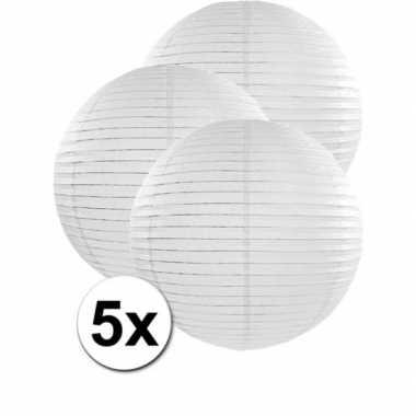 Witte feest versiering lampionnen 50 cm 5x stuks