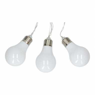 Witte feestverlichting lampbolletjes lichtsnoer op batterij 165 cm