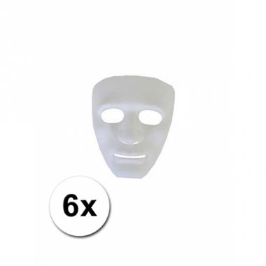 Witte gezichtsmaskers spook 6 stuks