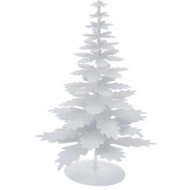 Witte glitter kerstboom van metaal 22 cm