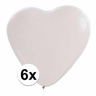 Witte hartjes ballonnen 6 stuks
