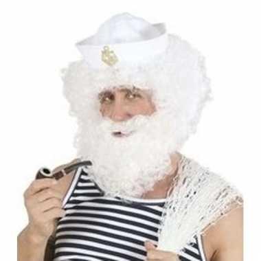 Witte herenpruik met baard zeeman