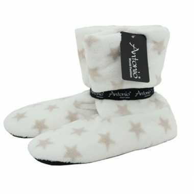 Witte hoge dames pantoffels/sloffen met sterrenprint