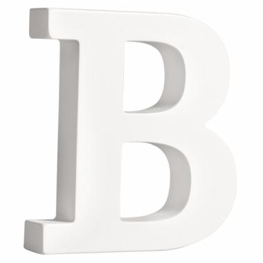 Witte houten letter b 11 cm