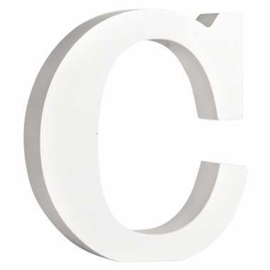 Witte houten letter c 11 cm