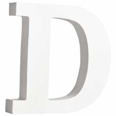 Witte houten letter d 11 cm