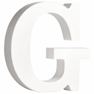 Witte houten letter g 11 cm