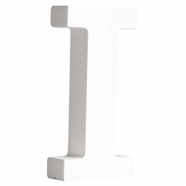 Witte houten letter i 11 cm