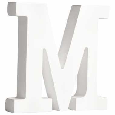 Witte houten letter m 11 cm