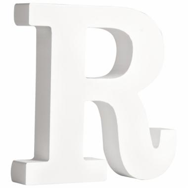 Witte houten letter r 11 cm
