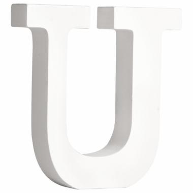 Witte houten letter u 11 cm
