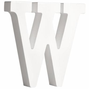 Witte houten letter w 11 cm