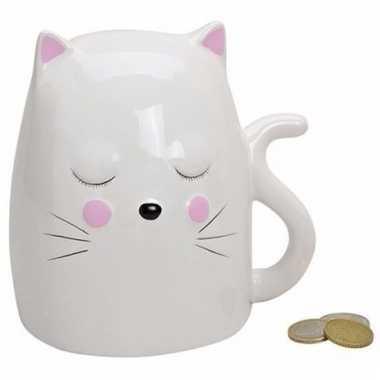 Witte kat /poes spaarpot