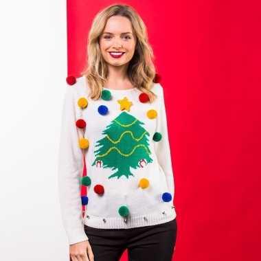 Witte kerst sweater 3d kerstboom voor dames