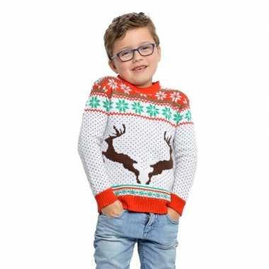 Witte kerst sweater met rendieren voor kinderen