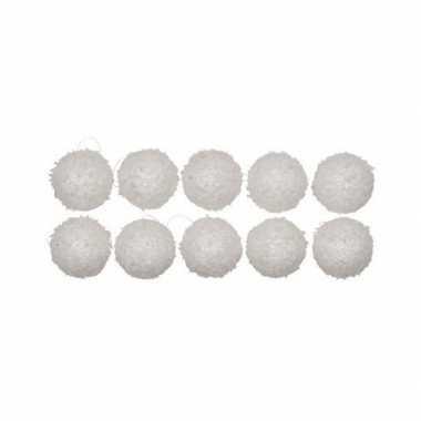 Witte kerstballen met sneeuweffect 10 stuks 6 cm
