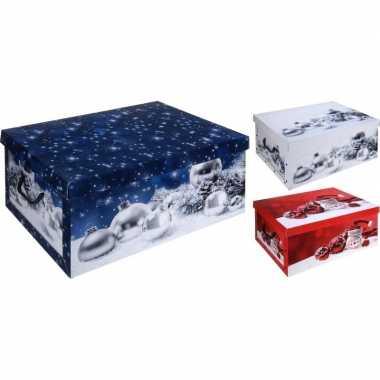 Witte kerstballen opbergdoos 49 cm