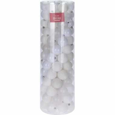Witte kerstballen set 6 cm