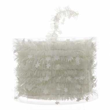 Witte kerstboom folie slinger met ster 700 cm