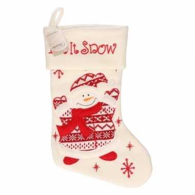 Witte kerstsok met sneeuwpop 45 cm