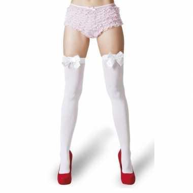 Witte kousen met strik voor dames