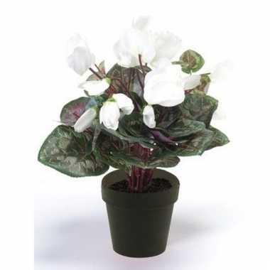 Witte kunstplant cyclaam plant in pot
