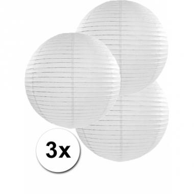 Witte lampionnen 35 cm 3 stuks